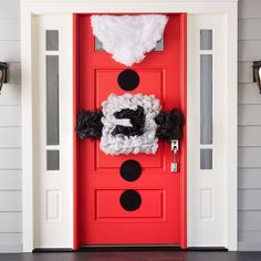 welcome holiday guests with kris kringle inspired door decor holiday ornaments christmas wreaths - Pinterest Christmas Door Decorations