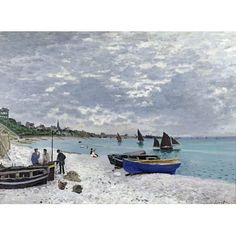 "Highland Dunes 'The Beach at Sainte-Adresse' by Claude Monet Photographic Print Poster Size: 35"" H x 48"" W"