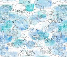 Spoonflower Design Challenge voting: Animals Of The Ocean - MANATEES!!!
