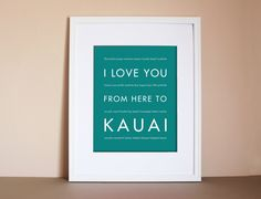 Hawaii Typography Poster I Love You From Here by HopSkipJumpPaper