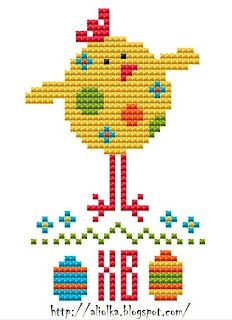 cute Easter chick cross stitch with name or initials