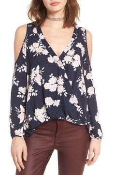 7cd27d8632b Lush Surplice Cold Shoulder Top - Nordstrom Spring Fashion Trends, Blue  Blouse, Floral Tops