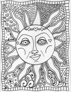 Sun Coloring Pages Adults