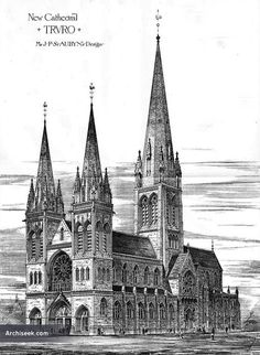 1878 – Proposed Cathedral at Truro, Cornwall – Archiseek – Irish Architecture Cathedral Architecture, Sacred Architecture, Cultural Architecture, Religious Architecture, Classic Architecture, Historical Architecture, Boston Architecture, Truro Cathedral, Die Renaissance