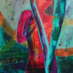 """Mystic Harp  36x36""""  Acrylic/Collage Art Courses, Rhythm And Blues, Soul Sisters, Beautiful Mind, Mixed Media Artists, Harp, Marine Life, Figure Painting, Abstract Landscape"""