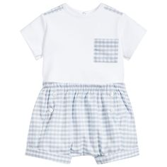 Beautiful baby boys top and shorts outfit byAbsorba. The soft cotton jersey top has a check patch pocket, trim at the shoulders, and poppers down the back for easy changing. The matching shorts are made of lightweight cotton, with turn ups, soft pleats, decorative buttons and an elasticated waist for comfort.