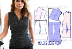 Blusa drapeada na frente - Moldes Moda por Medida