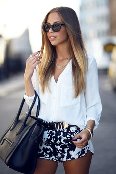 white shirt & patterened shorts