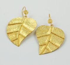 Golden Leaf earring  925 Sterling Silver 18k Gold by gemswelry