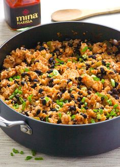 Chicken, Cauliflower Rice and Beans Recipe cooked with spicy harissa sauce in one pan on a stovetop, ready in 30 minutes. | ifoodreal.com