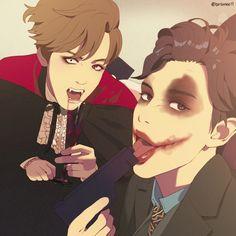 @binbinee11 baekhyun & chanyeol fanart << haha these were their hallowern costumes!! Nailed it!