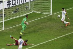 """Moment #5 - Clint Dempsey scores for 2-1 lead """"Ball to the byline for Yedlin. He cut it back where Zusi picked it up. His cross was turned in by Dempsey to give the USA the lead!"""" - @ussoccer (AP Photo/Themba Hadebe)"""