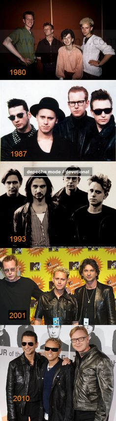 The evolution of Depeche Mode.  Thanks to the original poster for providing this, so cool to see their transformation!
