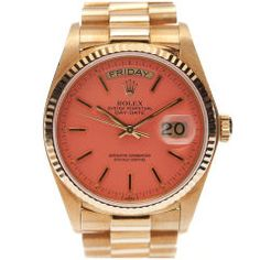 """If I ever buy a watch, it will be this one - an original 1980's yellow gold Rolex """"President"""" with enamel lacquered Stella dial in a rare pink hue.  Iconic."""