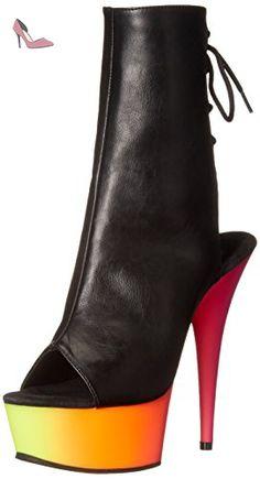 Pleaser RAINBOW-1018UV6 Blk Faux Leather/Neon Multi Size UK 6 EU 39 - Chaussures pleaser (*Partner-Link)