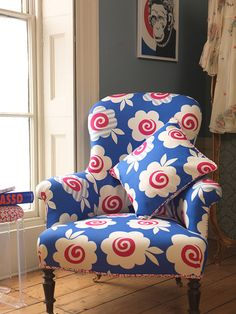 Love this chair in  Celia Birtwell fabric