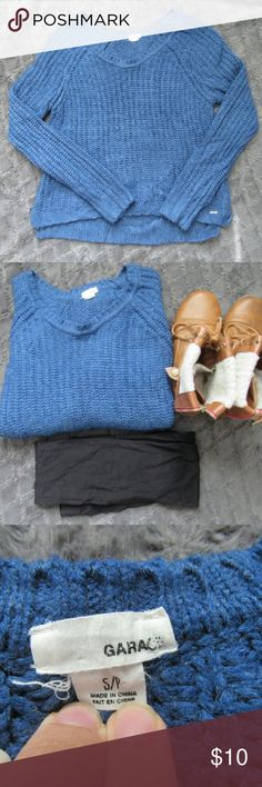Garage Brand Blue Sweater Very soft and comfy! Medium weight sweater with full length arms. 100% arylic. Perfect for the cooler weather! Feel free to ask questions! Garage Sweaters Crew & Scoop Necks