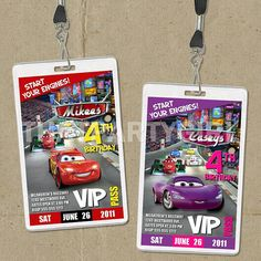 Cars VIP Pass Birthday Party Invitations