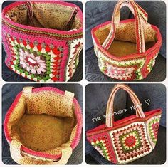 This free knitting pattern knits up easy and quick. Save money around the house and be frugal by using reusable mop pads. Crochet Handbags, Crochet Purses, Free Crochet Bag, Knit Crochet, Crochet Granny, Crochet Classes, Crochet Projects, Knitting Patterns, Crochet Edgings
