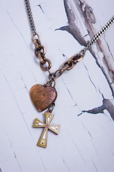 Mark Edge - Vintage - Recycled - Enamel Cross - Bronze Heart - Stainless Chain- Necklace