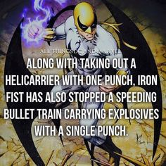 Along with taking out a helicarrier with one punch Iron Fist has also stopped a… Comic Movies, Comic Book Characters, Marvel Characters, Comic Character, Comic Books Art, Marvel Comics, Marvel Dc, Marvel Facts, Marvel Memes