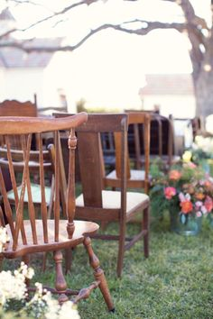 Love the antique chairs used for ceremony seating...Photography by halforangephotography.com Event Planning + Design by 36thstreetevents.com Floral Design by merveilleevents.com  Read more - http://www.stylemepretty.com/2013/07/08/barr-mansion-wedding-from-half-orange-photography/