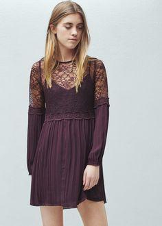 Lace panel dress | MANGO 63%OFF