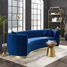Buy Modway Resolute Retro Modern Curved Back Upholstered Velvet Two Throw Pillows, Sofa, Navy online – Showmetopstyle – Sofa Design 2020 Navy Sofa, Gold Sofa, Gebogenes Sofa, Couches, Sleeper Sofa, Curved Sofa, Inexpensive Furniture, Living Room Sofa, Girl Room Decor