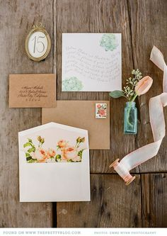 classical print - modern typography Invitations! Brown envelopes❤