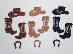 Lot découpes bottes chapeaux de cow boy fer à cheval scrapbooking embellissement album scrap die cut déco : Embellissements par lafscrap