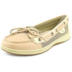 Sperry Top Sider Angelfish Women Boat Shoes ($90) ❤ liked on Polyvore featuring shoes, loafers, brown, leather flat shoes, brown shoes, deck shoes, brown leather flats and sperry top-sider shoes