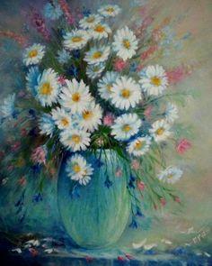 Modrá váza, olej na plátně, 40x50cm
