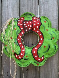 Burlap+Christmas+Wreath+with+Hand+Painted+Bow+by+nursejeanneg,+$28.00