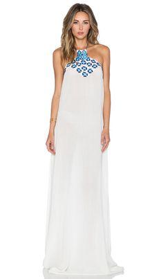 Pia Pauro Embroidered Maxi Dress in White   REVOLVE