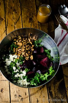 This is my all-time favourite kale salad. There's a sweet maple dressing, earthy beets, creamy goat cheese and crunchy walnuts. I could eat it every day!