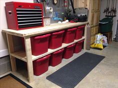 Finally organized our garage thanks to our neighbor building this awesome workbench. Bins found on sale after Christmas at Wally World.