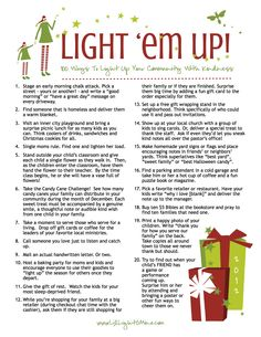 Light Em Up 100 Ideas for service and generosity at Christmas. I've seen a lot of lists, and this one is the best I've seen for families and tight budgets. there is an updated 2013 list with coloring pages, tags, logos! Christmas Service, Christmas Games, Christmas Activities, Christmas Traditions, Christmas And New Year, All Things Christmas, Winter Christmas, Christmas Decorations, Christmas Ideas