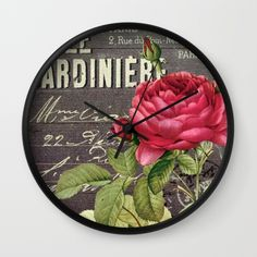 #flowers #floral #red #roses #vintage #pretty #elegant #luxurius #exclusive #wallclock available in different #homedecor products. Check more at society6.com/julianarw