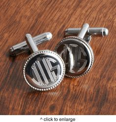 Personalized Silver Round Beaded Cufflinks....custom engraved to order. $27.00, via Etsy.