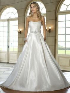 Ball Gown Strapless Taffeta Sweep Train Beading Wedding Dresses Shop uk