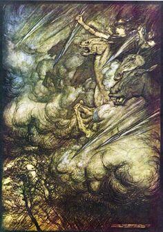 Ilustração de Arthur Rackham para a Cavalgada das Valquírias