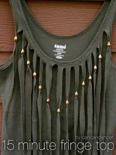 DIY Clothes DIY Refashion Women fashion: DIY 15 Minute Fringe Top
