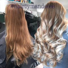 I'm so INLOVE with her hair  #beforeandafter #balayage #hairbymandeeee #handpainted #redkencolor #flashlift #ombre #colormelt #blondeends #blondehair #behindthechair #modernsalon #icyblonde