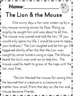 The Lion and the mouse reading passage with several comprehension activities! Part of 70 page reading for meaning unit! English Moral Stories, Short Moral Stories, English Stories For Kids, Moral Stories For Kids, English Worksheets For Kids, Short Stories For Kids, English Lessons For Kids, First Grade Reading Comprehension, Reading Comprehension Worksheets