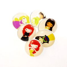 6 SMALL Princess Buttons. Handmade Buttons.  by buttonsbyrobin, $12.50