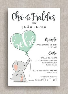 Convite Digital Chá de Fraldas 38 - Elefantinho Baby Party, Baby Shower Parties, Baby Boy Shower, Baby Tea, Elephant Party, Childrens Party, Baby Decor, Kids And Parenting, Baby Love