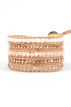 White Pearl and Rose Gold Sectioned Wrap Bracelet on Brown Leather | Talulah Lee