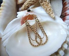14k Yellow  Gold Rope Dangle Drop Earrings 1.70g by EverythingIOwn, $70.00