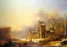 Frederik Marianus Kruseman Figures on a frozen river in a winter landscape oil painting for sale; Select your favorite Frederik Marianus Kruseman Figures on a frozen river in a winter landscape painting on canvas or frame at discount price. Canvas Painting Landscape, Oil Painting On Canvas, Canvas Wall Art, Winter Sky, Oil Painting For Sale, Dutch Painters, Oil Painting Reproductions, Traditional Paintings, Winter Landscape