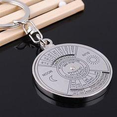 Chaveiro Calendário perpétuo 50 anos calendário, anel chave liga de prata pingente.